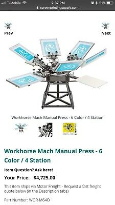 Workhorse 6x4 Used Screen Press Machine Plus Canon Printer And Lincoln Exposer.