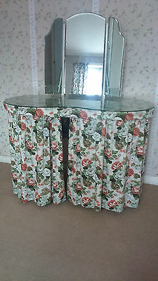 1960's Kidney Shaped Dressing Table with curtains