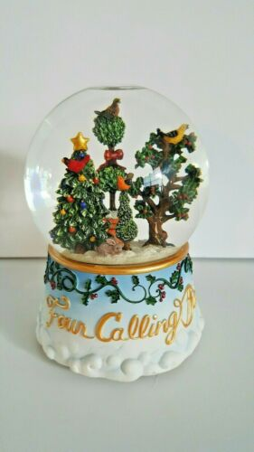 "Sankyo ""Four Calling Birds "" Twelve Days Of Christmas Musical Snow Globe."