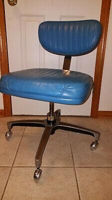 Mcm Chromcraft Rolling Task Office Chair Blue Vinyl Chrome - Adjustable - Usa