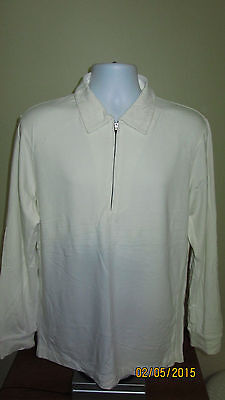Medium Green Apple Golf Gear Long Sleeve Beige Half 1/2 Zip 2 Rear Pocket Shirt
