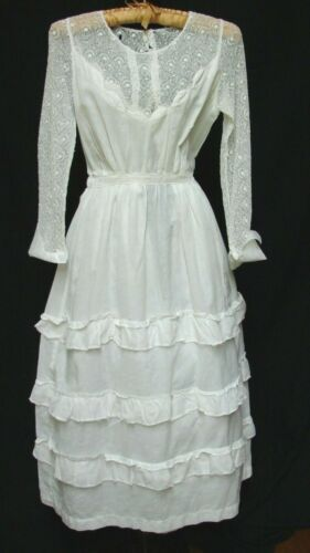 ANTIQUE 1910 C LACE BODICE RUFFLE DETAIL EDWARDIAN TEA DRESS