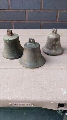 3 X Antique Miniature Bronze Bells