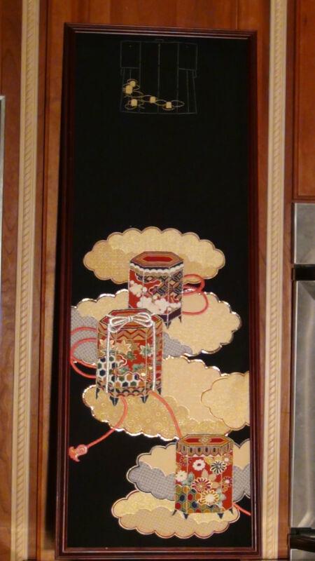 ANTIQUE JAPANESE SILK  TOMESODE KIMONO ELEMENTS FRAMED ART