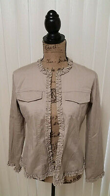 Chico's Khaki Cotton Blend Jacket Long Sleeve Unlined Ruffled Jacket Womens (Khaki Cotton Jacket)