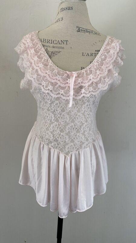 Vintage Pink Lace Lingerie Teddy Nightgown Sz L Cinema Etoile