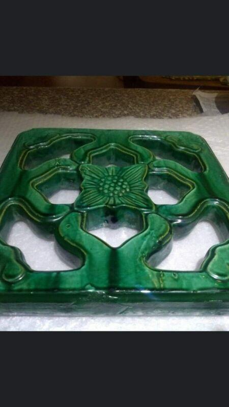 Antique Chinese Breezeway Tile, Jade Temple Tile, Tiki Tile, Vintage Decor