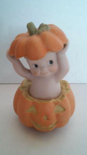 Enesco Jesco Kewpie Halloween Figurine Popping out of a Pumpkin 1993