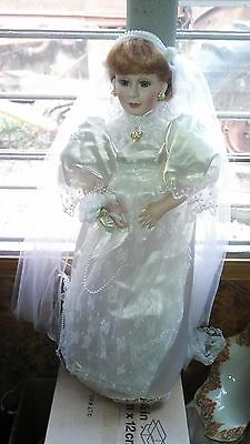 Pretty Bride Porcelain Doll in White Dress