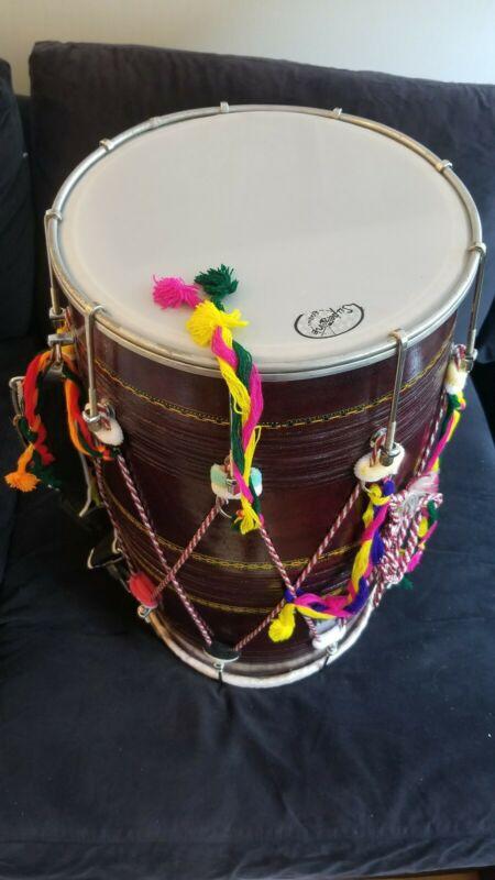 AUTHENTIC INDIAN DHOL DRUM - 2 SIDES.  12 Inch Diameter. 25 inch length