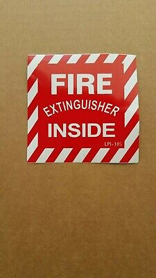 Fire Extinguisher Inside Sign - Lot Of 2 Signs - 4 X 4 Vinyl Stick-on Sign
