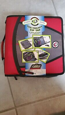 Case It Mighty Zip Tab 3 Inch Capacity Ring Zipper Binder Red D-146 New