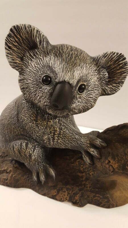 Large Ceramic KOALA Bear Figurine Statue, On Tree Log, Australian Marsupial