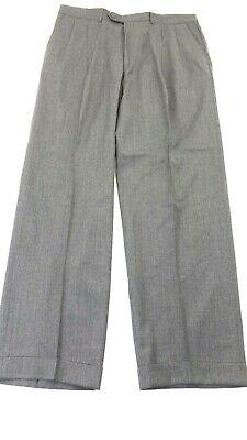 PAZONI MEN'S GREY 100% WOOL DRESS PANTS PLEATED WITH CUFFS SIZE 36 X 30