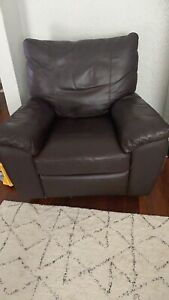 Leather rocking/swivel armchair with leg rest