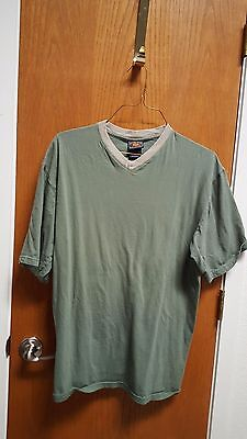 Men's Route 66 Green Short-Sleeve V-Neck T-Shirt Size M 100% Cotton
