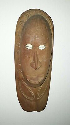 OLD VINTAGE WOOD CARVED MASK SHELL EYES