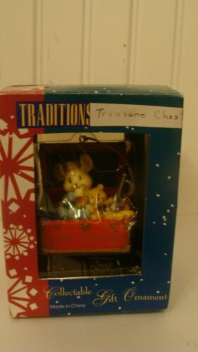 1994 Traditions Collectible Gift Ornament Treasure Chest Merry Christmas