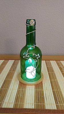 Handmade and Handcut Decorative Green Bottle w/ Led Candle and Dolphin Design