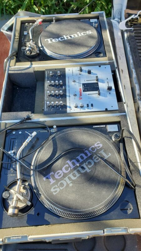 Technics SL-1210 M5G (Pair) With Coffin and Vestax Mixer. Excellent Condition