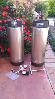 2 x beer kegs tap & accessories. Guages