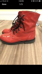 Red combat boots size 8!