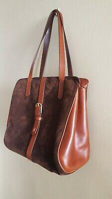 HENRY BEGUELIN Large Brown Suede and Leather Shoulder Bag
