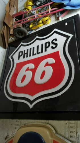 "VINTAGE PHILLIPS 66 GAS SIGN PLASTIC MOUNTED AND LIGHTED 65"" X 65"" X 8"""