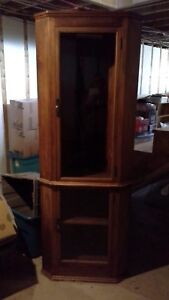 6 f Handmade solid wood crnr.China Cabinet with 3 glass  shelves