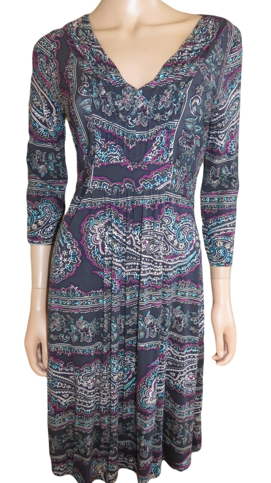 NEW Ex M/&S Floral Jersey Multi 3//4 Sleeve Knee length Summer Dress Size 10-20
