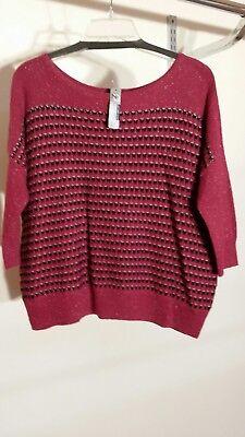 New Directions Weekend cotton acrylic wool nylon rayon 3/4 sleeve sweater  - Acrylic Sweaters