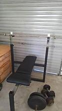 Gym Bench, 80 kg weights + more equipment Buderim Maroochydore Area Preview