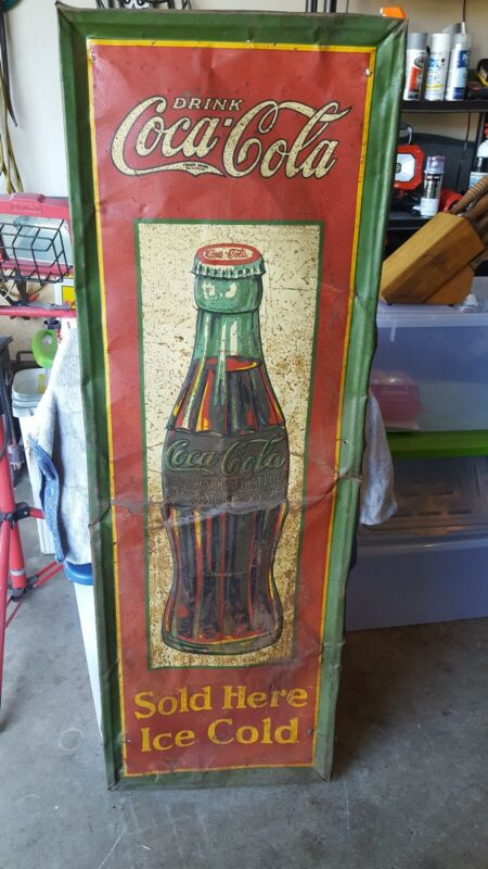 "Original Vintage Metal Coke Sign COCA COLA 1931 Christmas Bottle 54"" x 18"""