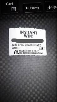 MacDonalds Instant Win $200 epic Skateboard Voucher A157