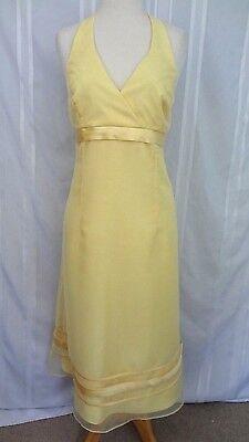 DAVID'S BRIDAL Bridesmaid/Formal Halter A-Line Yellow Dress Empire Waist Sz 8/10