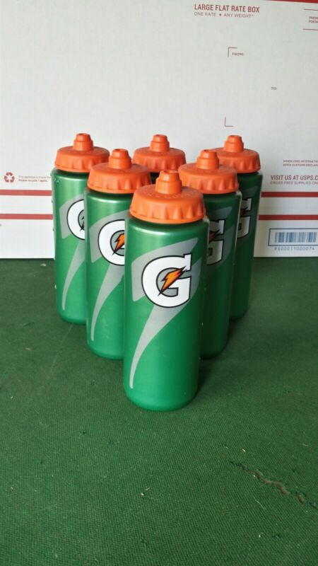 Lot Of 6 Gatorade 20 fl oz Squeeze Water Bottle Sports Drink Athletic Green