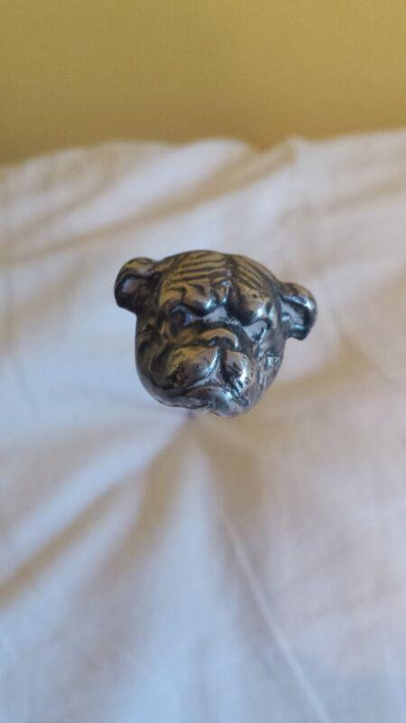 Antique Bulldog Hatpin Sterling Silver