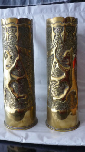 1917 WWI French pair Artillery Shell Trench Art Hammered Leaf Vase with lions