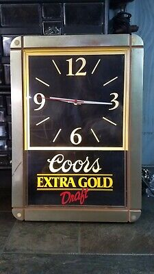 Vintage Coors Extra Gold Beer Light Up Clock Sign in Good Working Condition