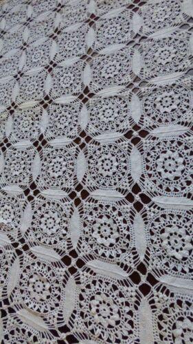 "VTG Handmade Crochet  White Lace bedspread bed coverlet 64"" x 76"" floral net"