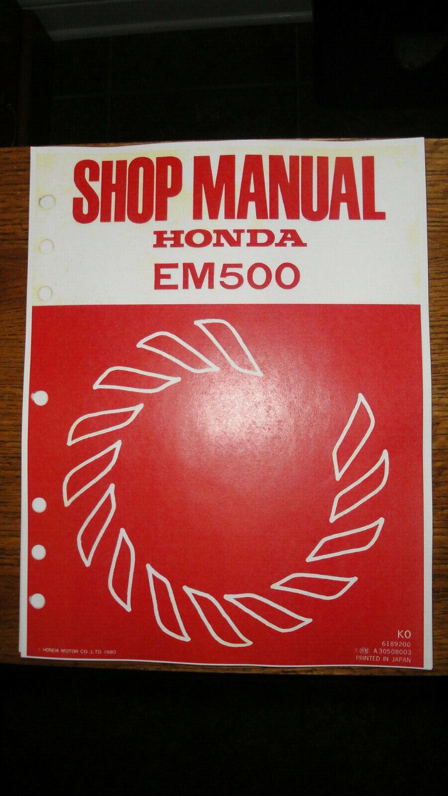 HONDA EM500 GENERATOR SHOP MANUAL WITH SUPPLEMENT COVERING EM500 K1 AND EM600