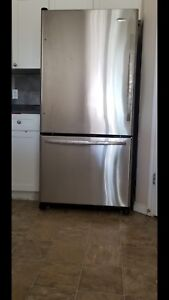 Whirlpool Gold energy star refrigerator in stainless steel.