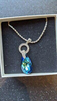 BNIB Jon Richard Silver Necklace with Aqua Blue stone with Swarovski Crystals