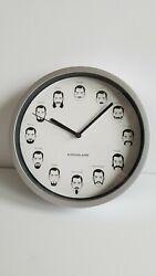"Kikkerland Mustache Wall Clock - Barber Shop Salon Mustache Beard 8"" Clock"
