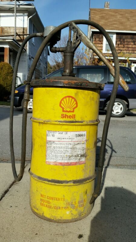 Vintage? Empty 16 Gallon Shell Dentax Gear Oil / Grease Drum / Barrel, Man Cave