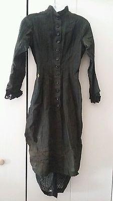 Antique Estate Victorian Dark Green Bustle Jacket Dress Lrg Jet Buttons Mourning