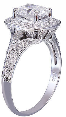 GIA G-SI1 14K WHITE GOLD CUSHION CUT DIAMOND ENGAGEMENT RING DECO 1.70CTW 4