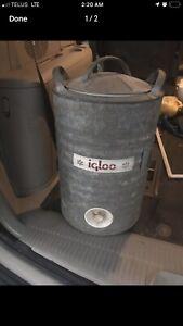 Vintage igloo 5 gallon galvanized water cooler jug