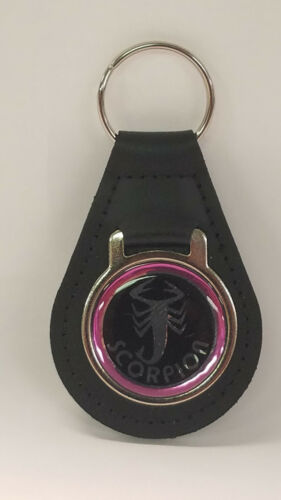 Reproduction Pink Scorpion Snowmobile Chrome Medallion Leather Keychain (092)