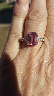 Pink Topaz Octagon Cut and Diamond Ring 10KT SOLID -